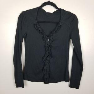 Magaschoni cotton zip up ruffle top cardigan